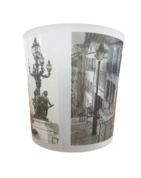 Evideco Paris City Printed Bath Trash Can/Waste Bin ...
