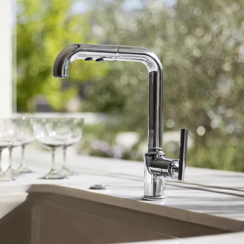 kitchen sink faucet discount cabinets nj k 7505 bl cp vs kohler purist single hole with 8 pullout spout promotion