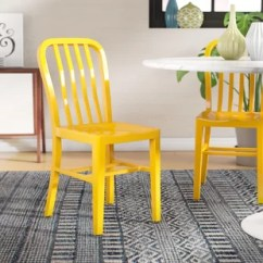 Yellow And Grey Chair Telescopic Camping Chairs Kitchen Dining You Ll Love Wayfair Phineas Metal Set Of 2