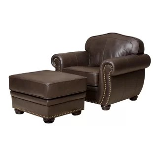 leather chair ottoman natural wood folding included chairs you ll love wayfair quickview
