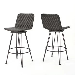 outdoor bar chairs round swivel chair modern contemporary counter stools allmodern prevost wicker patio stool set of 2