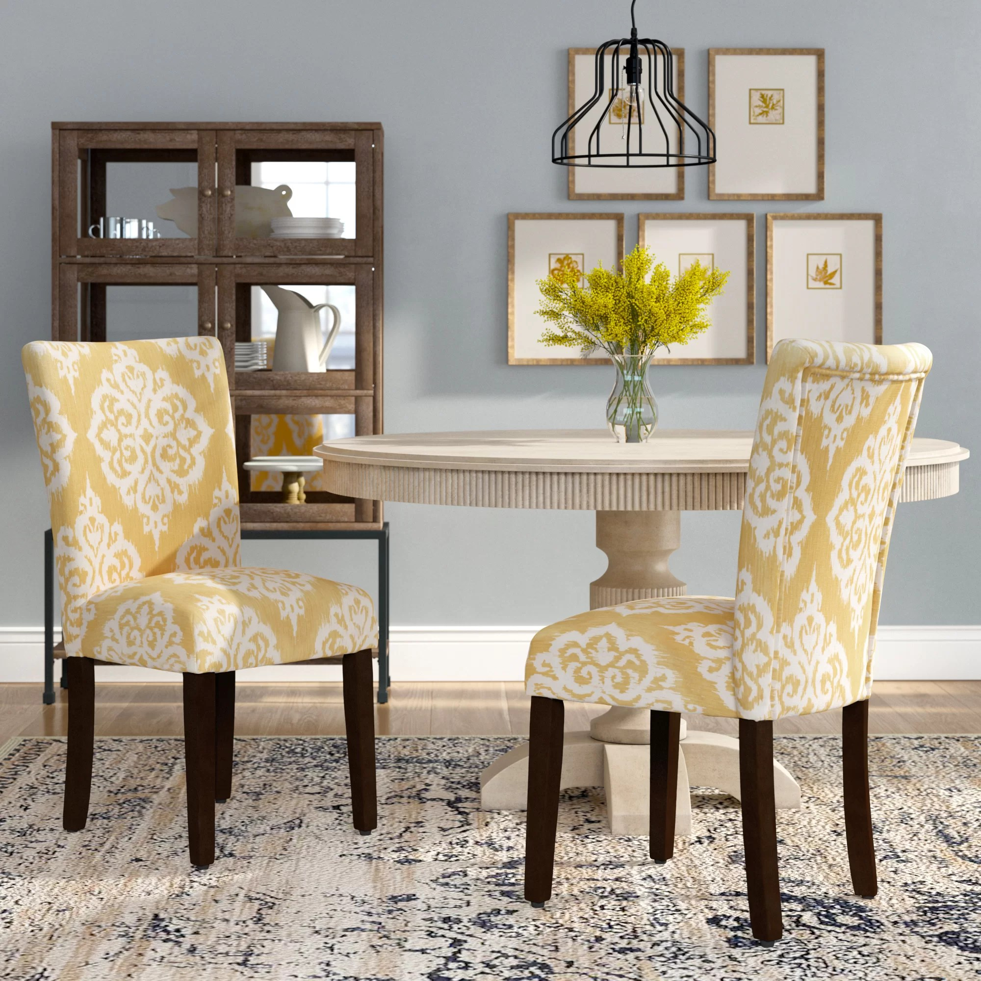 Damask Chair Natane Yellow Cream Damask Parsons Chair