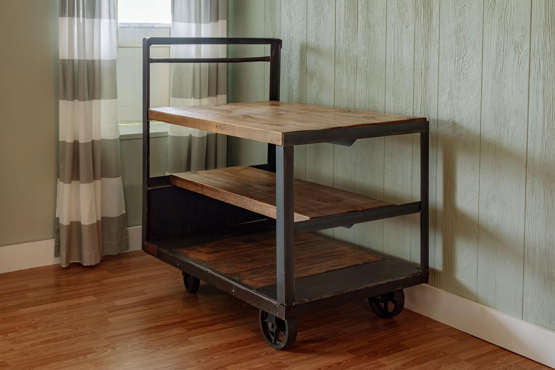 wooden kitchen cart roman shades 17 stories jambusaria vintage factory wood wayfair ca