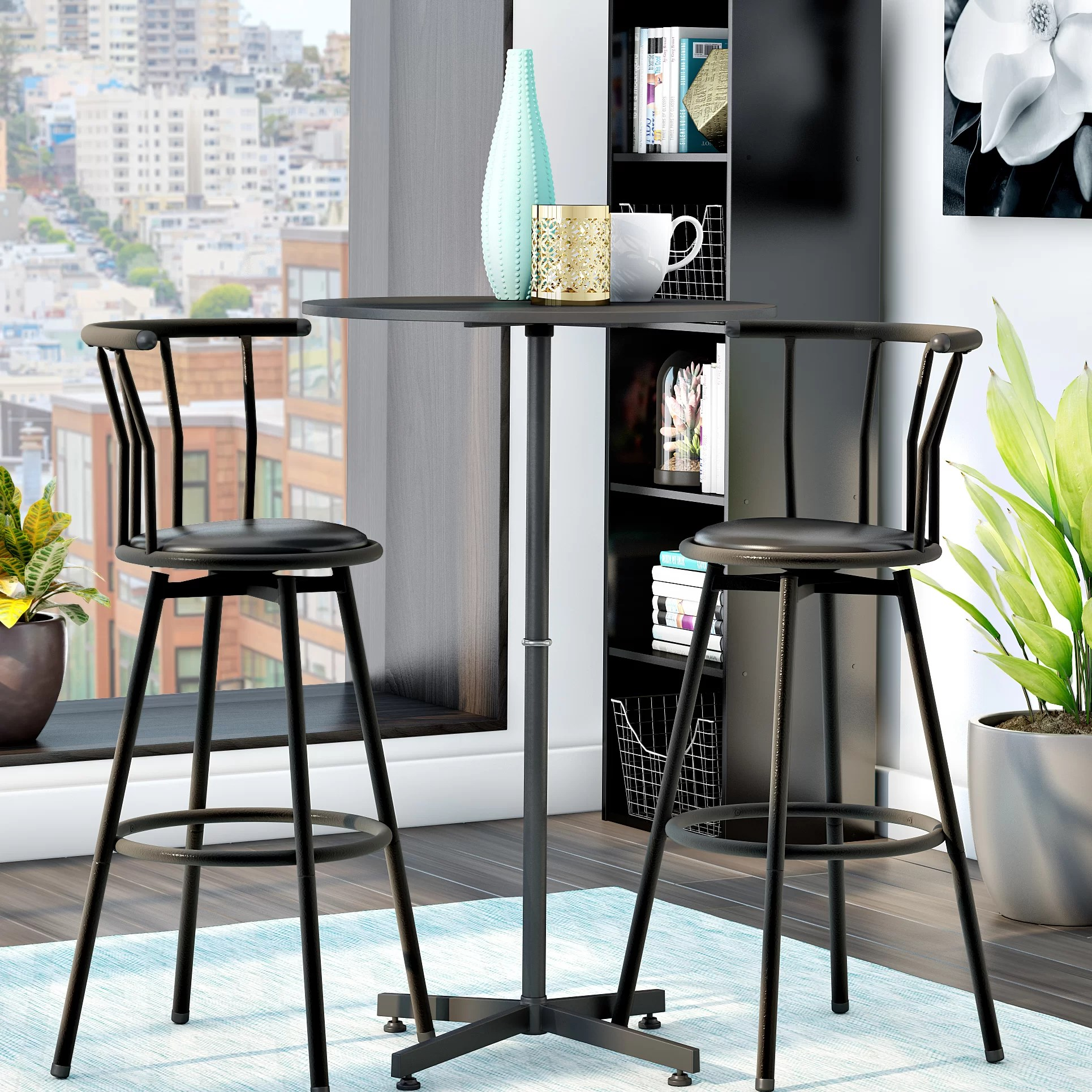 pub table and chairs 3 piece set 2 padded stackable zipcode design mavis reviews wayfair