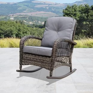 wicker rocking chair outdoor patio wrought iron pad chairs you ll love wayfair quickview