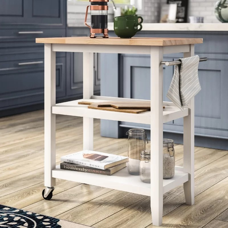 kitchen cart table smart tv andover mills raabe with wood top reviews wayfair