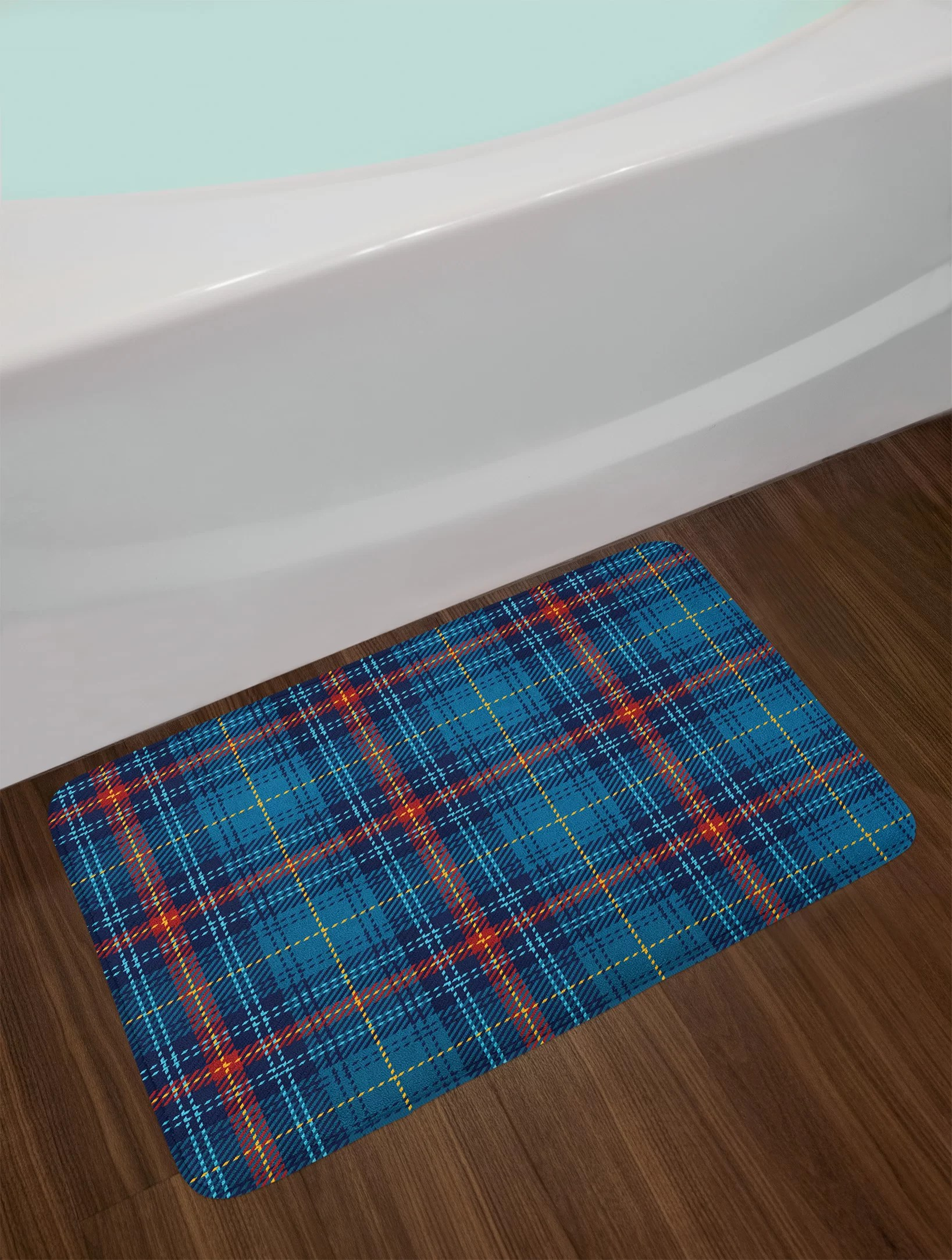 Red Bathroom Rug Cultural Blue Navy Blue Red Checkered Bath Rug