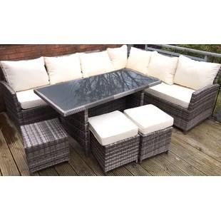 garden corner sofa with dining table grey red pillows rattan set wayfair co uk 9 seater effect