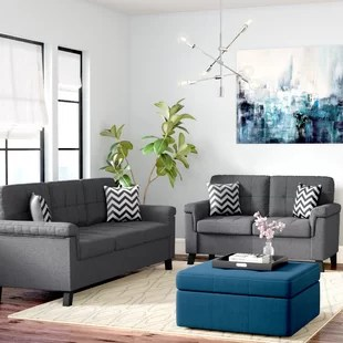 modern sofas furniture sets brushed steel sofa legs living room you ll love wayfair whitmore 2 piece set