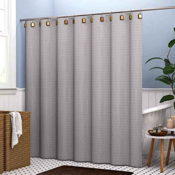 Mercury Row Highpoint Textured Stripes 100 Cotton Single Shower Curtain &