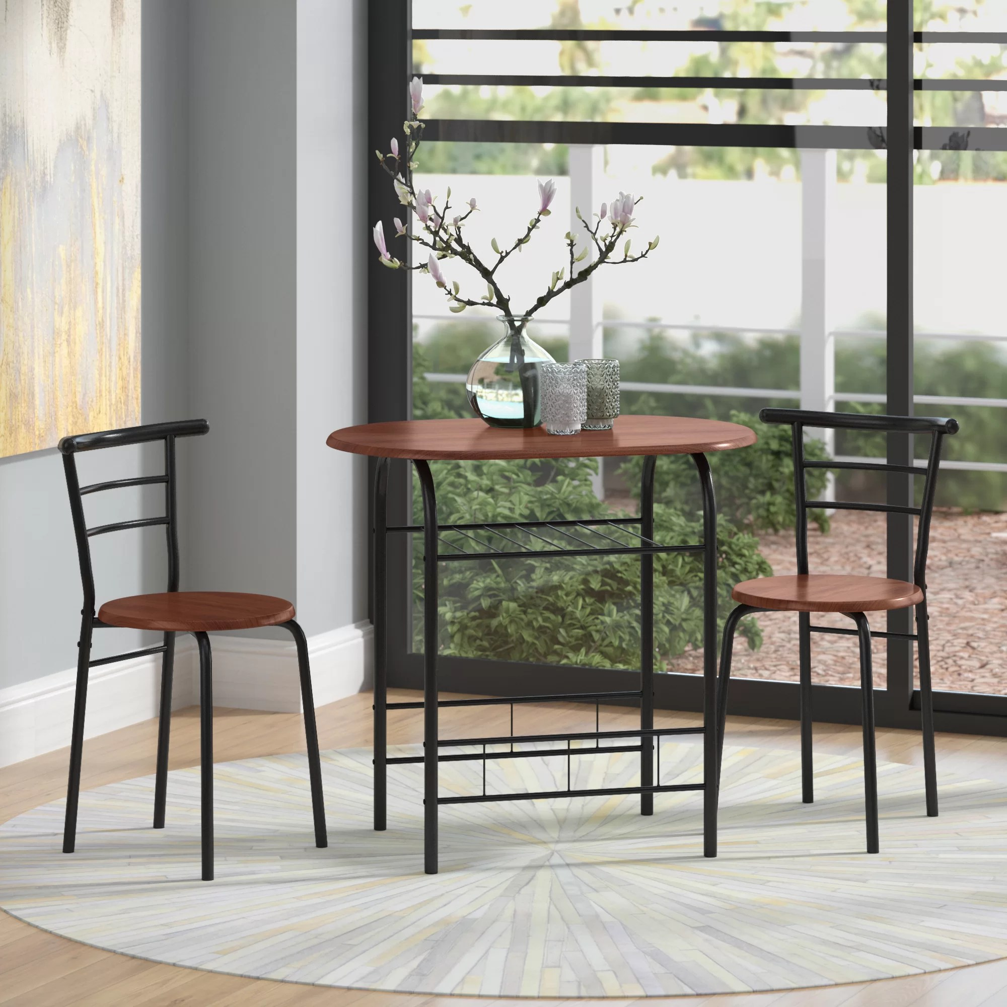 Table With Two Chairs Volmer 3 Piece Compact Dining Set