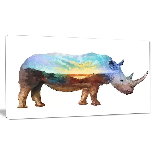 rhino double exposure illustration