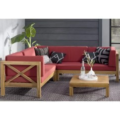 Cushion Sofa Set Red Leather Curved Lark Manor Lejeune 4 Piece Sectional Seating With Cushions