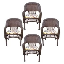 Resin Patio Lounge Chairs Posture Chair Wooden Wicker Wayfair Belwood Dining With Floral Cushion Set Of 4