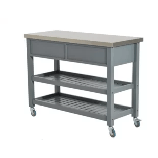 stainless steel kitchen cart sears cabinets islands carts you ll love wayfair london 3 tier with top