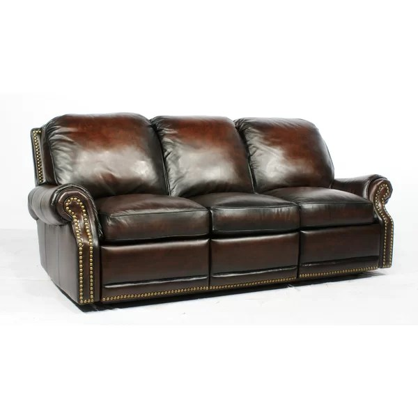 reclining sofa leather brown overnight corp hickory nc canora grey timmie reviews wayfair