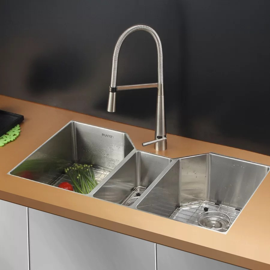 triple kitchen sink vintage faucet ruvati gravena 35 l x 20 w bowl dual mount reviews wayfair