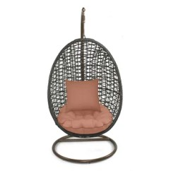 Hanging Chair With Stand Dubai Desk Swivel No Wheels Rattan Wicker Pod Swing Wayfair Quickview