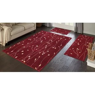 kitchen mat sets aid knife set 3 piece red rug wayfair trumbull area