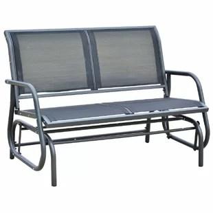metal patio chair ball base only furniture you ll love wayfair callen 49 outdoor swing glider bench dark gray