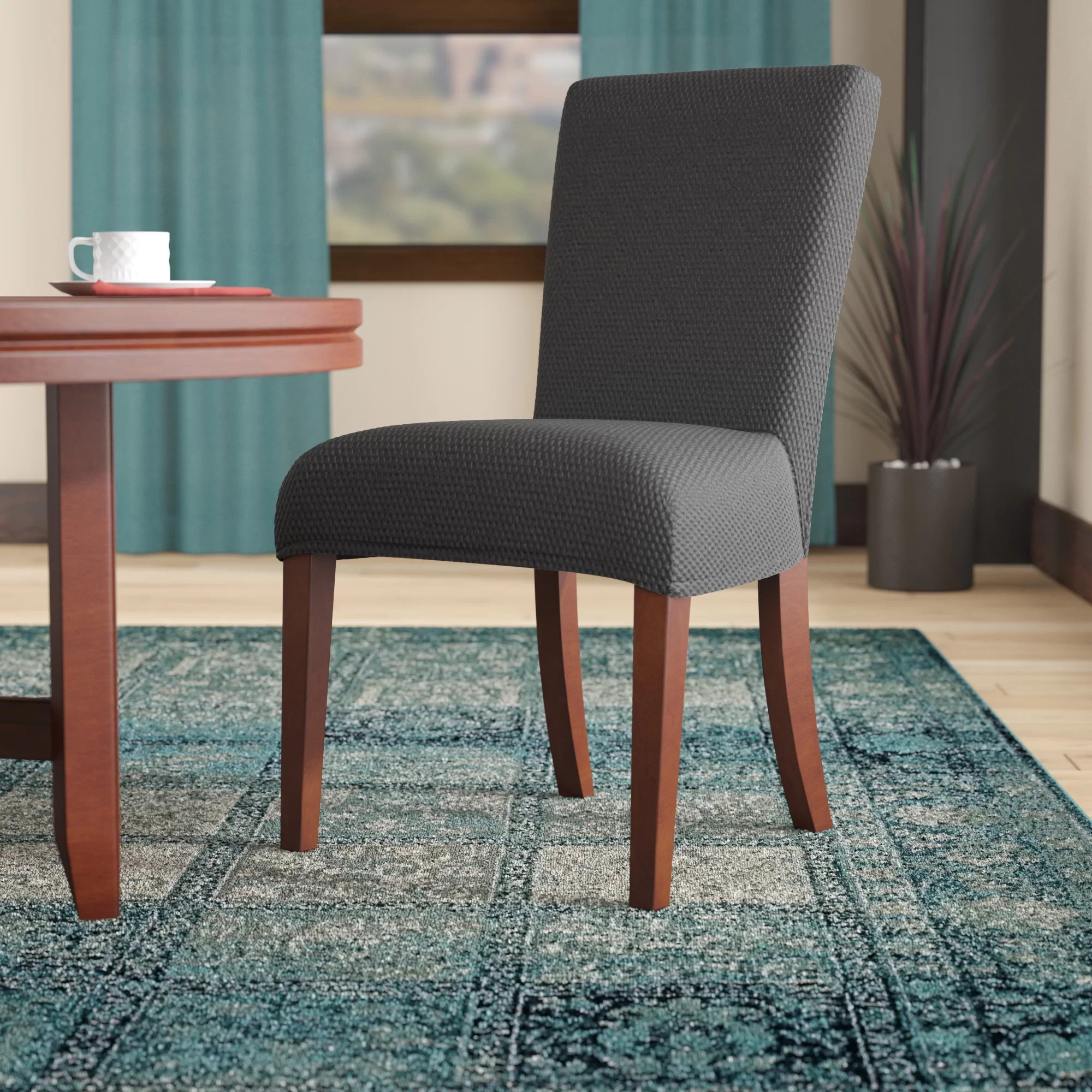 stretch dining chair covers upholstered chairs set of 6 winston porter polyester slipcover reviews wayfair