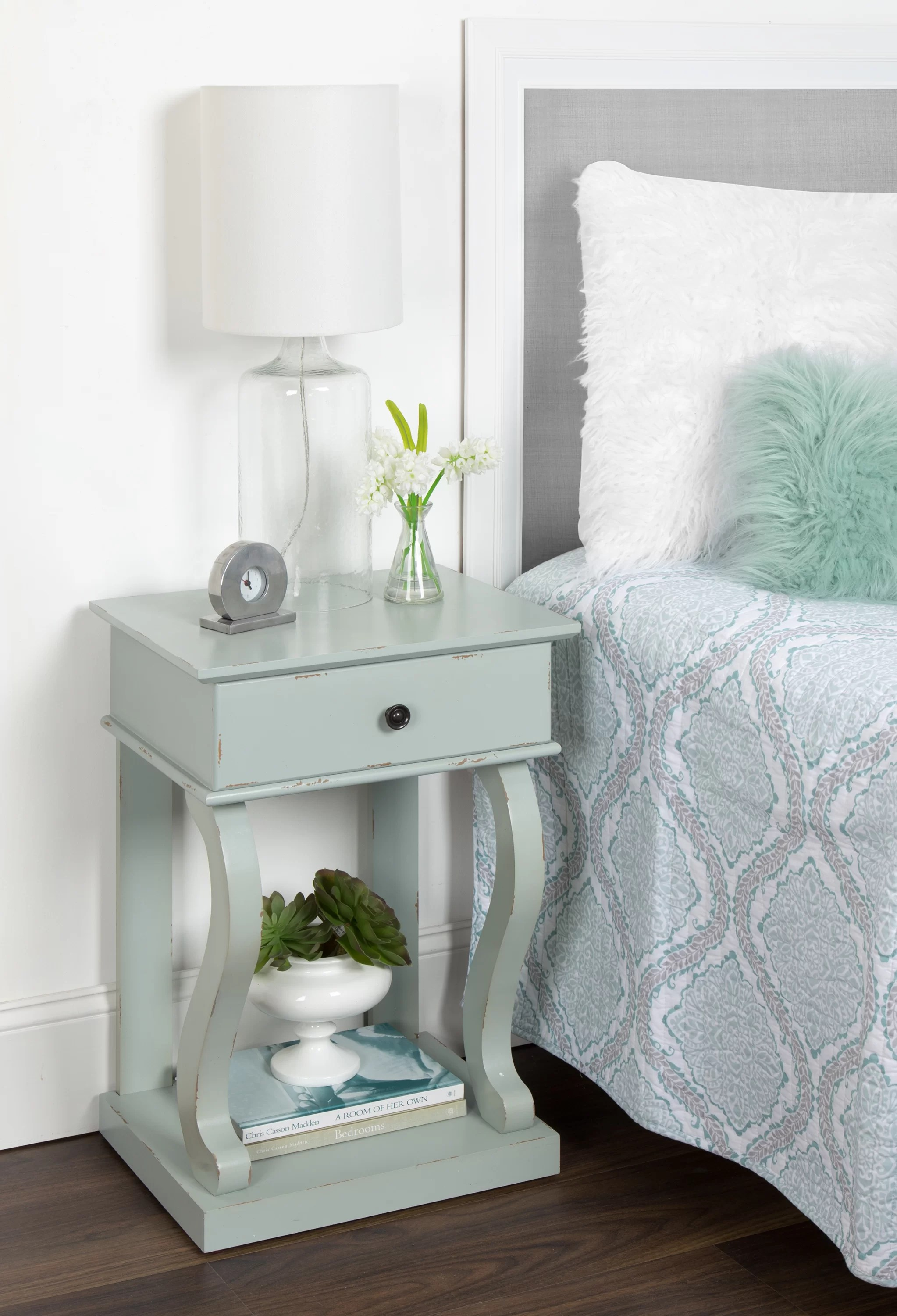 Kate And Laurel Don Farmhouse Chic Nightstand Side End Table With Drawer And Shelf Distressed Grey