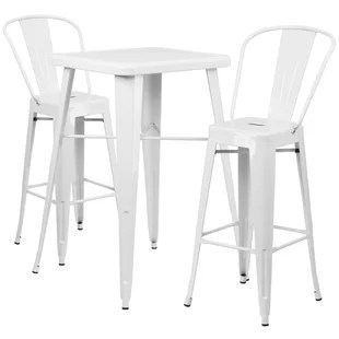 white table chairs chevron dining pub tables bistro sets you ll love wayfair quickview