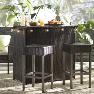 outdoor bar table and chairs slipcover for dining chair patio furniture you ll love wayfair hallsville 3 piece set