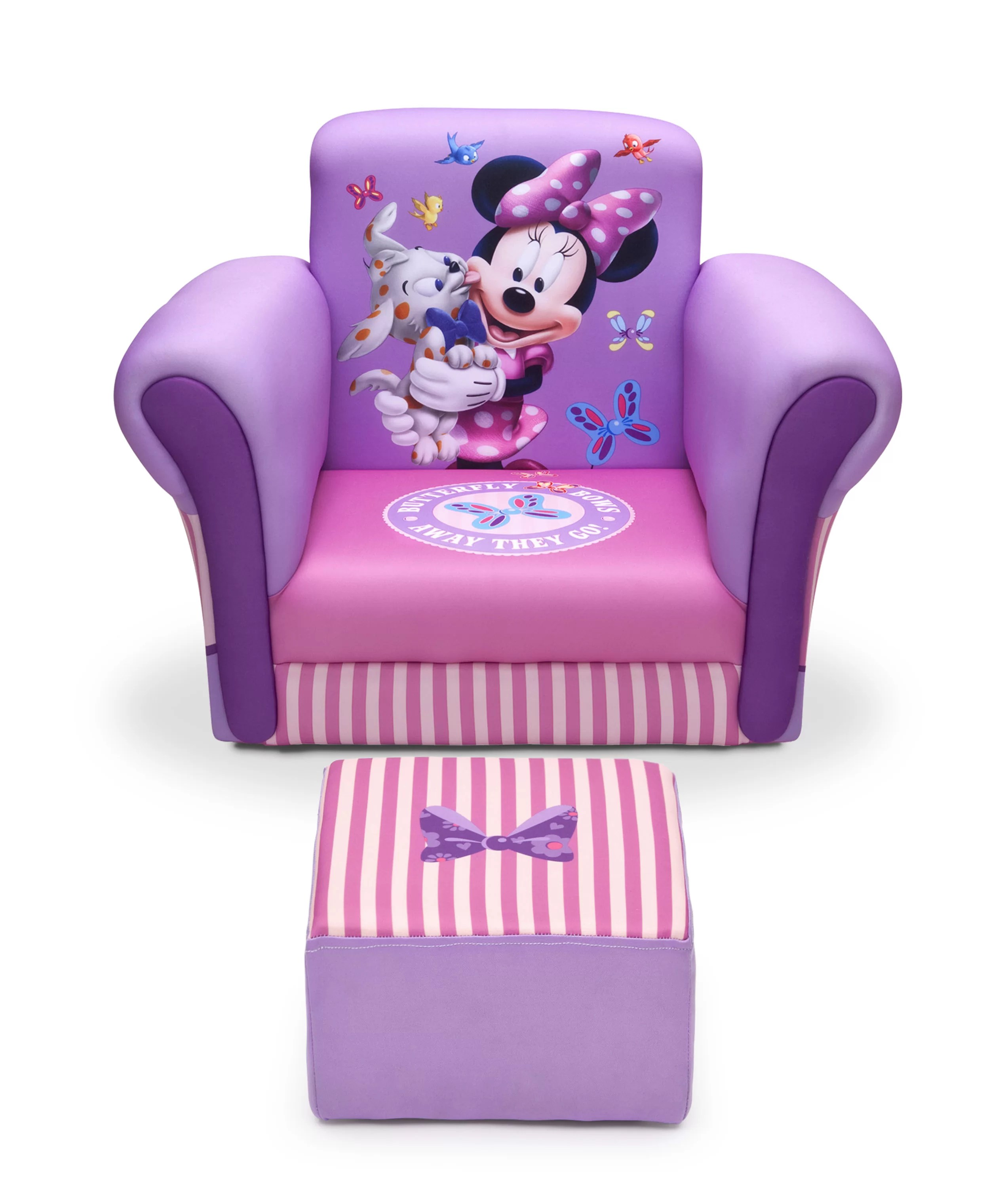 kids chair with ottoman black elastic covers delta children minnie mouse and reviews wayfair