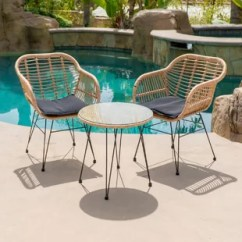 Outdoor Bistro Table And Chairs Set Best Office For Lower Back Pain Modern Tables Allmodern Garett Wickered 3 Piece With Cushions