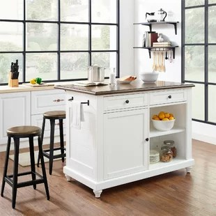 kitchen island sets cart stainless steel top islands carts you ll love wayfair gilchrist set