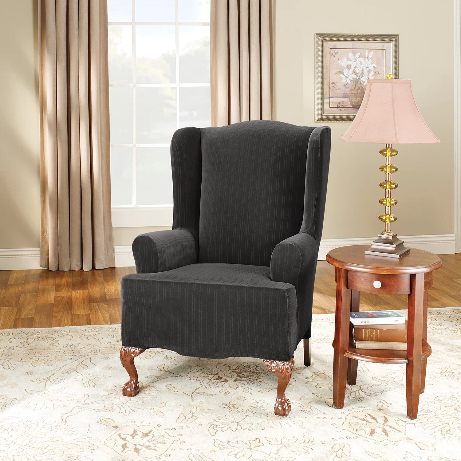 sure fit wing chair cover covers for special events stretch pinstripe slipcover and reviews
