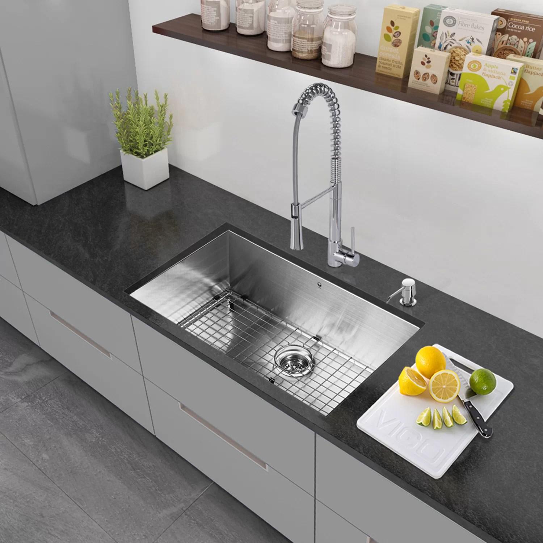 30 undermount kitchen sink round islands vigo quot x 19 single bowl 16 gauge stainless