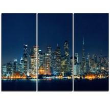 Designart San Francisco Skyline Night - 3 Piece Graphic