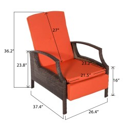 Wicker Reclining Patio Chair Ab Cruncher Merax Adjustable Lounge With
