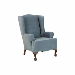 Sure Fit Slipcovers Wing Chair Rustic Accent Chairs Stretch Pinstripe Slipcover And Reviews