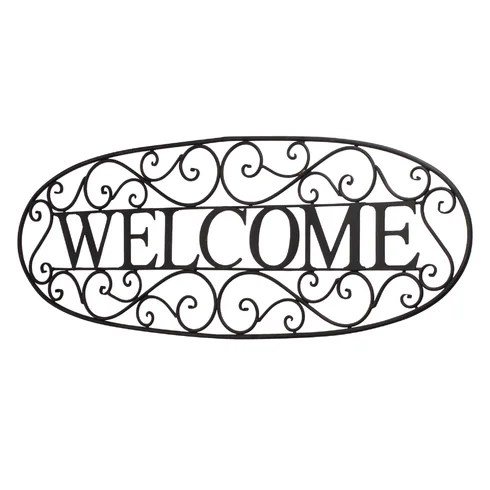 BayAccents Welcome Sign Wrought Iron Wall Décor & Reviews