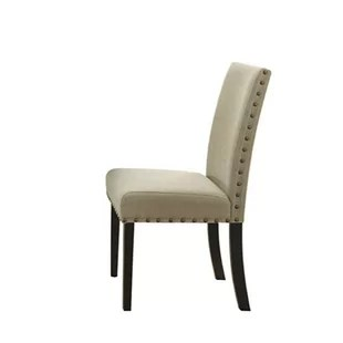 upholstered chair with nailhead trim recliner covers big w dining wayfair quickview