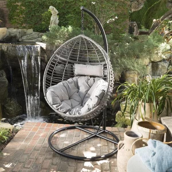 hanging chair with stand dubai home choice covers basket swing wayfair