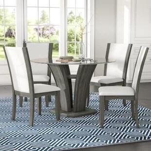 glass top kitchen table bosch sinks dining room sets wayfair kangas 5 piece set