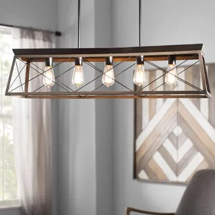 farmhouse kitchen lighting fixtures top corner cabinet wayfair delon 5 light island pendant