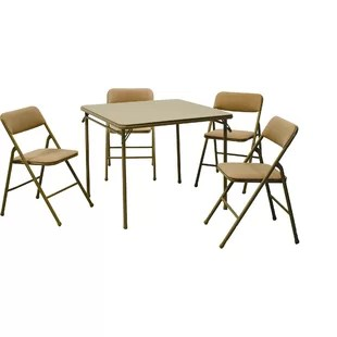fold away table and chairs bedroom chair hull wayfair 5 piece square folding set