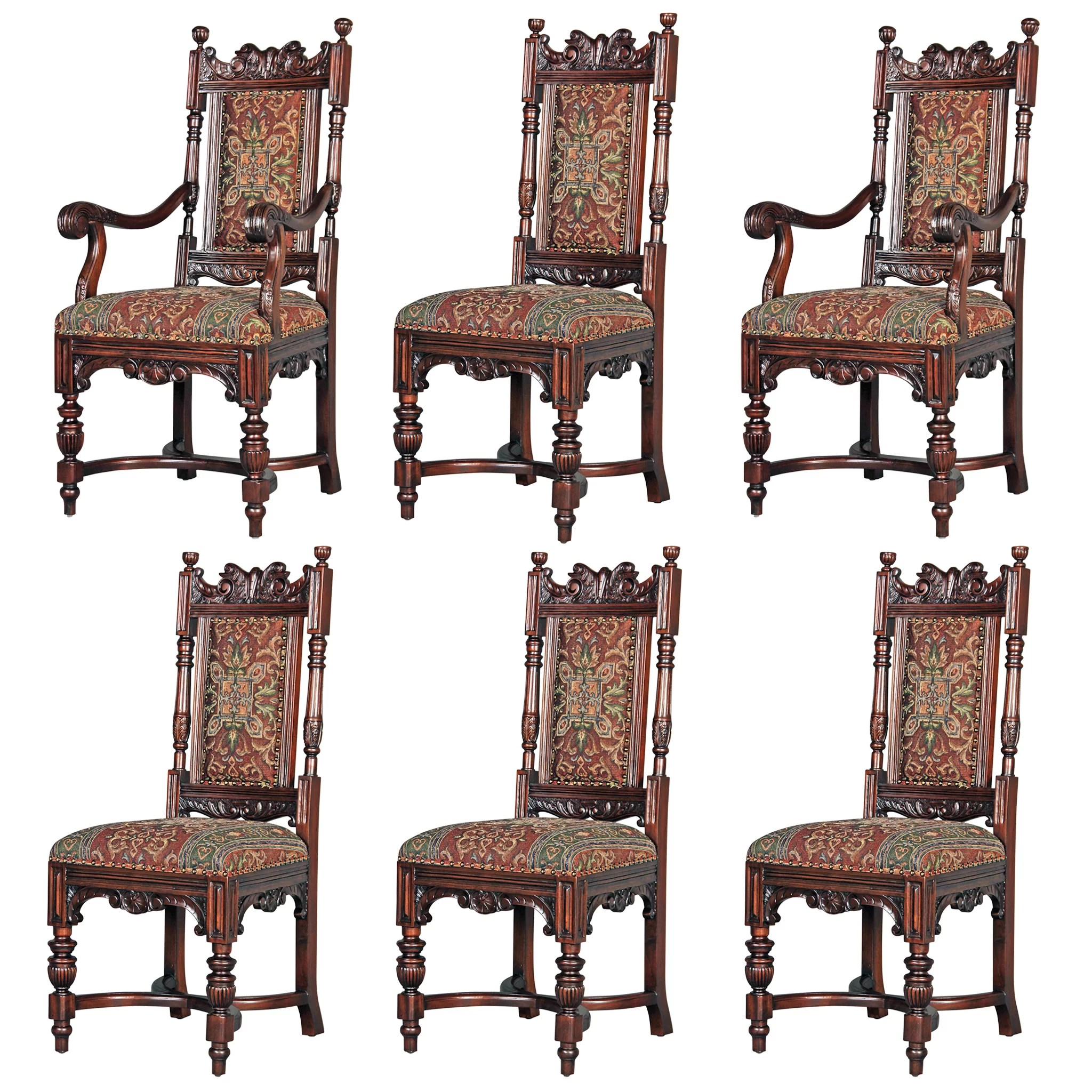 Dining Chair Set Of 6 Grand Classic Edwardian Upholstered 6 Piece Dining Chair Set