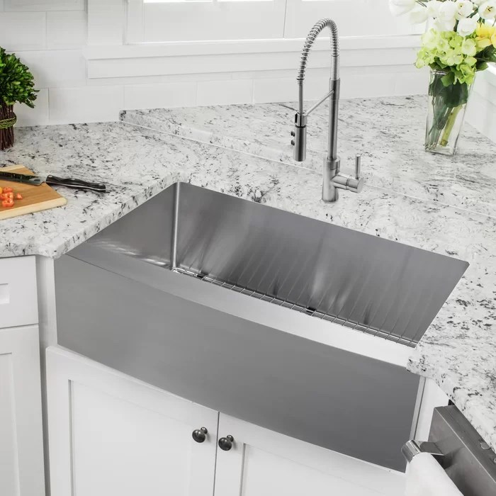 stainless steel kitchen retro chalkboards for soleil 36 l x 20 75 w apron front single bowl sink with faucet wayfair ca