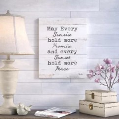 Living Room Art Wall How To Accessorize Shelves Farmhouse You Ll Love Wayfair Every Sunrise And Sunset Textual On Canvas Cream Wood Grain Brown