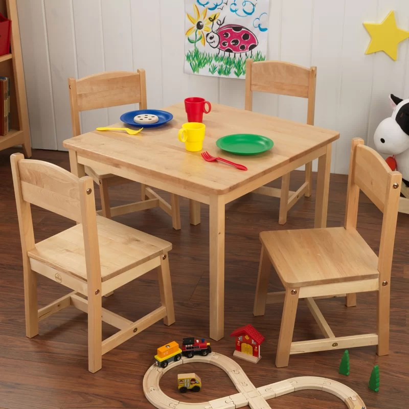 kidkraft farmhouse table and chair set espresso glider nursery kids 5 piece square & reviews   wayfair