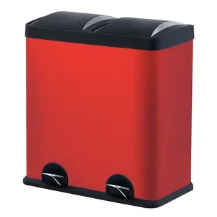 red kitchen trash can set cans you ll love wayfair quickview