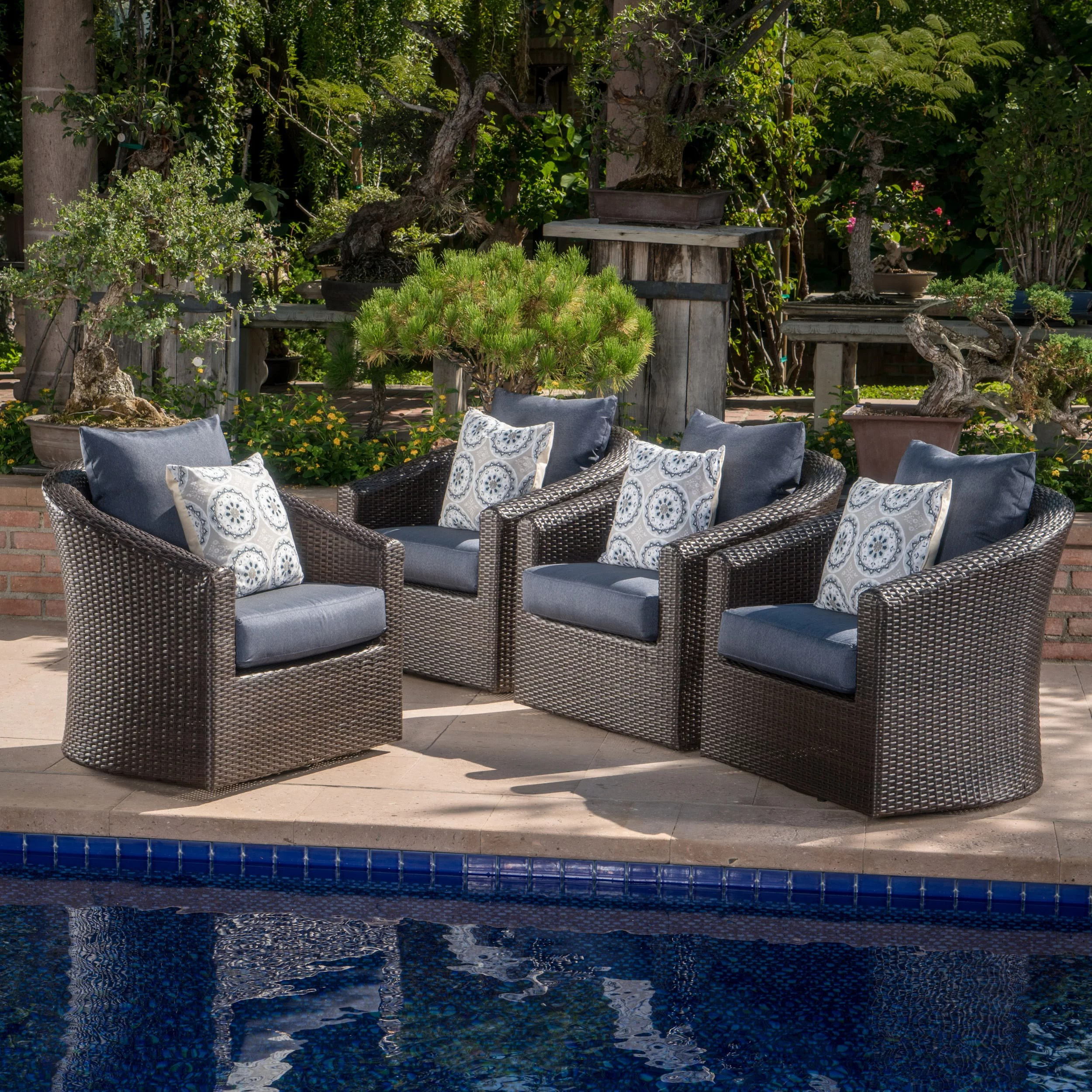Outdoor Chair Set Dierdre Modern Outdoor Wicker Swivel Club Patio Chair With Cushions