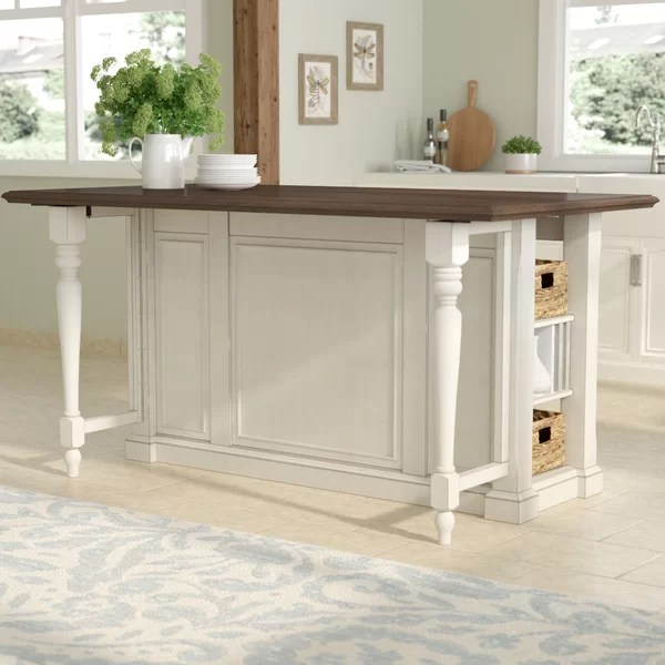 August Grove Kitchen Island with Wood Top  Reviews  Wayfairca