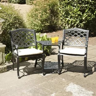 tete a chair outdoor wedding covers aliexpress benches you ll love wayfair justis metal bench